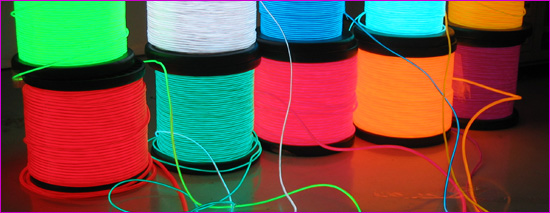EL (Electroluminescent) wire comes in various sizes and colors